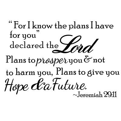 $6.90 • Buy For I Know The Plans Bible Verse Scripture Wall Vinyl Christian Sticker Decals