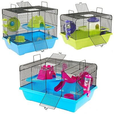 Hamster Cage Mice Mouse Dwarf Syrian Gerbil Cages With Accessories • 29.99£
