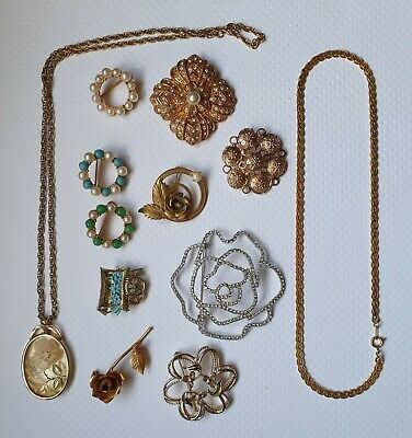 $ CDN13.59 • Buy Vintage RHINESTONES  Jewelry Lot Necklaces Flower Rose Brooch And Pins Signed #1