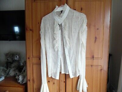 Gothic BANNED Lace Blouse .IVORY. Size M UK. Ruffled Cuffs, And Collar • 21.50£