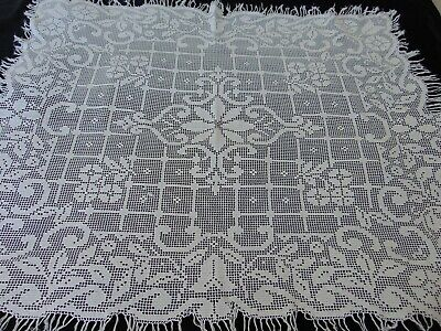 Antique Charming French Hand Crochet Tablecloth Sturdy Cotton 127 X 99 Cm Vgc  • 5.50£