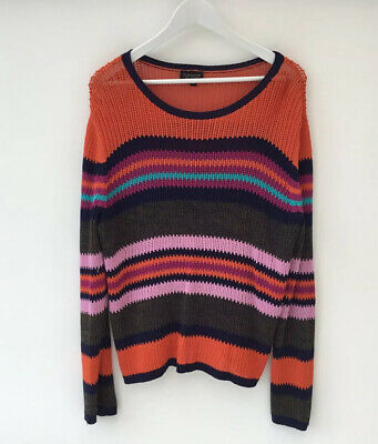Topshop Size 16 Knit Look Slouchy Jumper Sweater Hippy Boho Striped • 15.99£
