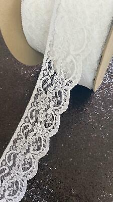 2 1/2 Inch White Lace Trim Crafts Fabric Sewing • 2.49£