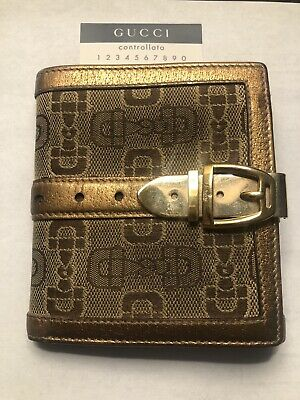 $18.50 • Buy Rare GUCCI Canvas & Gold Leather Wallet W/Gold Tone Belt Buckle Clasp Bifold