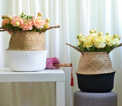 Seagrass Woven Storage Wicker Basket Flower Plants Straw Pots Home Garden Decor • 8.99£