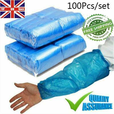 BLUE Disposable Plastic Arm Sleeves Covers Oversleeves Cleaning Protective UK • 7.49£