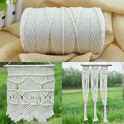 AU24.31 • Buy 3/4/5/6mm Macrame Rope Natural Beige Cotton Twisted Cord Artisan Hand Craft