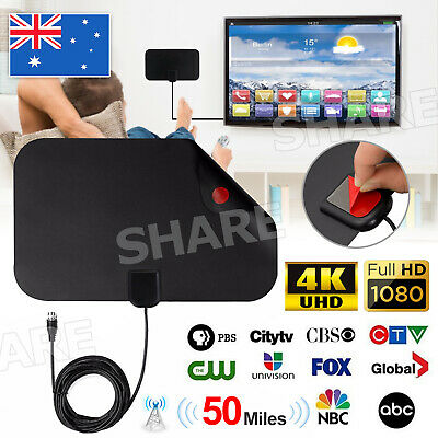 AU6.95 • Buy Indoor Digital HDTV Freeview Antenna With TV Aerial 50 Mile Range Thin 1080p