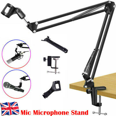 Broadcast Mic Desktop Microphone Suspension Boom Scissor Arm Stand Holder UK • 8.99£