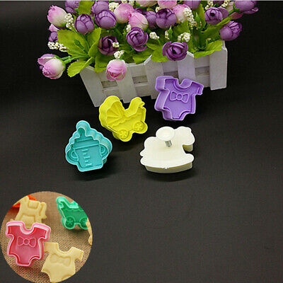 £2.84 • Buy 4pcs Fondant Cookies Cake Biscuit Plunger Cutter Mould Mold Baby Shower Clothes