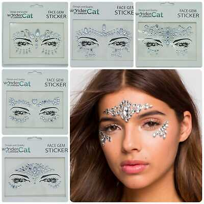 Clear Face Gem Adhesive Glitter Jewel Sticker Tattoo Festival Party Body Make Up • 1.99£
