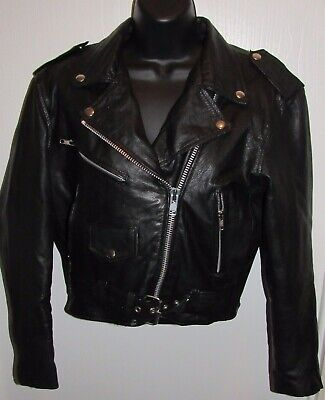 $59.77 • Buy Vintage Easy Rider Black Leather Biker Jacket Womens S Motorcycle Riding