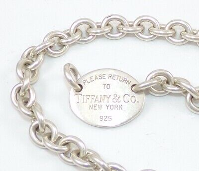 $208.99 • Buy Return To Tiffany & Co Oval Tag Chain Link Necklace Sterling Silver 15.5  SEI