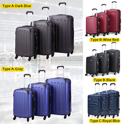 View Details 3 Piece Luggage Set Carry On Trolley Suitcase Cover Travel Spinner Wheels ABS+PC • 97.49$