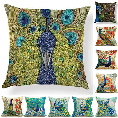 18'' Peacock Cotton Linen Throw Pillow Case Sofa Waist Cushion Cover Home Decor • 3.40£