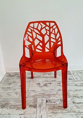 Contemporary Modern Designer Acrylic Red Tree Chair • 85£