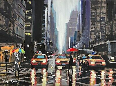 £699.99 • Buy Pete Rumney Original Oil Painting Wet Crossing In New York' Yellow Taxi Cabs Nyc