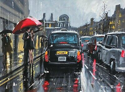 £699.99 • Buy Pete Rumney Original Fine Art Oil Painting By 'catching A London Cab' Taxi