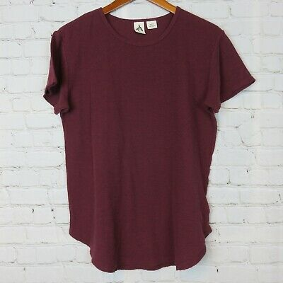 $ CDN15.29 • Buy Three Feathers Anthropologie Womens Sz M Short Sleeve Shirt Top Burgundy Ribbed