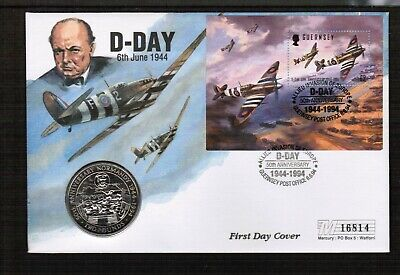 Guernsey 1994 50th Anniv Of D Day £2 Coin Cover • 3.40£