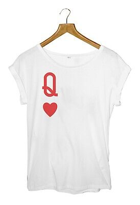 Queen Of Hearts White Roll Sleeve T-Shirt Top S M L • 15.99£