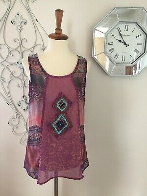 $ CDN40.80 • Buy NICK & MO ANTHROPOLOGIE Medium BOHO FLORAL PRINT BEAD EMBELLISH SLEEVELESS TOP