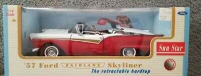 $70 • Buy SunStar 57 Ford Fairlane Skyliner Convertible W/ Retractable Hood 1/18 Scale NIB