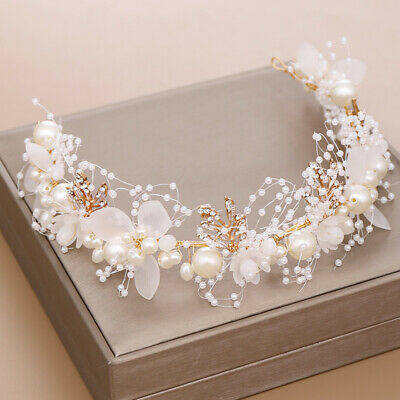$ CDN12.55 • Buy Big Flower White Pearl Crystal Hair Head Band Accessories Bridal Wedding