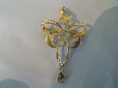 Beautiful 9 Ct Gold Edwardian Pendant With Peridot, Amethyst And Pearls • 28£
