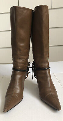 Original Knee High Gucci Women's Brown Leather Boots Shoes Size 38 1/2 • 75£