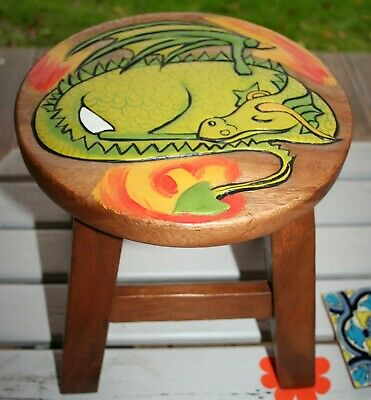 SLEEPING DRAGON STOOL 10 /26cm Carved Acacia Wood Small Child-Seat Side-Table BN • 15£