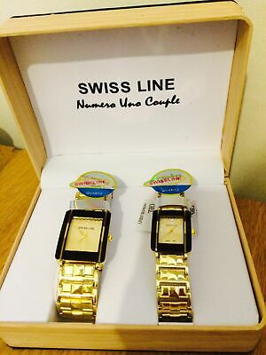 BRAND NEW BOXED Swiss Line Numero Uno Couple Gold Watch • 45£