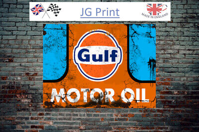 Gulf Oil Metal Wall Sign - Vintage - Retro - Oil Can - Man Cave • 6.99£