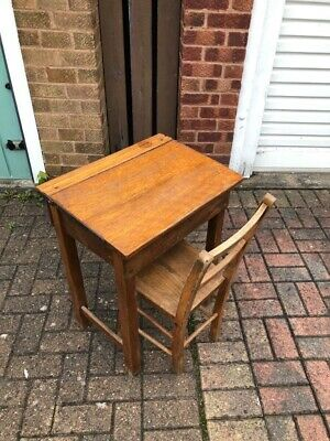 Vintage Children's Wooden School Desk And Chair Kids Child's Lift Up Top • 60£