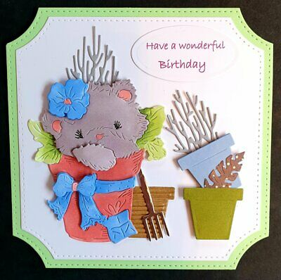 Handmade Card Topper Birthday Tattered Lace Cute Cat Copic Garden Flower Luxury • 1.99£