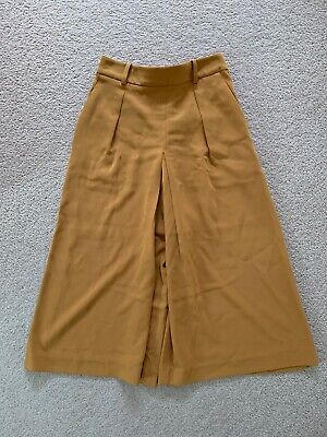 AU12 • Buy Uniqlo Cullotes Pants Mustard Yellow Trousers Size S Elastic Work Office