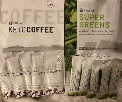 $38 • Buy It Works! KetoCoffee Keto Coffee 5 Packets & 5 Chocolate Super Greens New Sealed