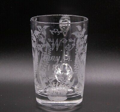Victorian Engraved Glass Mug With Personal Engraving On Front • 15£