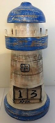 Hand Made Carved Wooden Lighthouse Perpetual Calendar Nautical • 7.95£