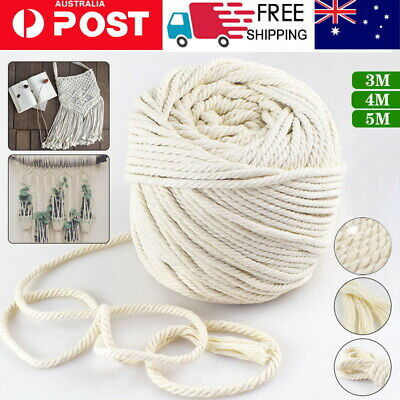 AU14.99 • Buy 3/4/5/6mm Natural Cotton Rope Cord String Twisted Beige Craft Macrame Artisan