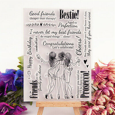 Best Friends Hen Party Girls Lady's Sentiment Silicone Stamp Scrap Booking Cards • 4.99£