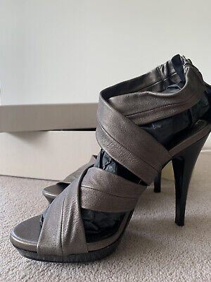 Burberry Ladies Shoes Sandal Platform Heels UK Size 7 Pewter New Unworn • 25£