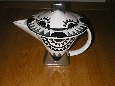 Superb  Clarice Cliff Design  Art Deco Tea Pot By Moorland Pottery In Mint Cond • 20£