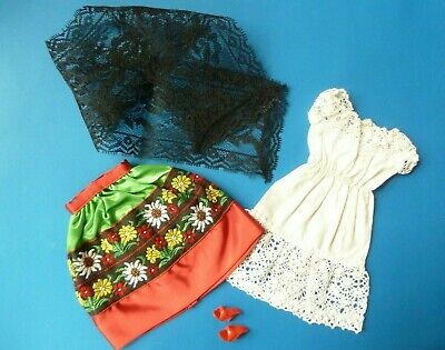 $ CDN64.99 • Buy Vintage Barbie In Mexico Dress, Skirt, Mantilla And Shoes #0820 (1964)