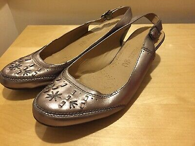 M&S Footglove Pewter Leather Slingback Shoes UK 8 In Wider Fit *NEW* • 15.95£