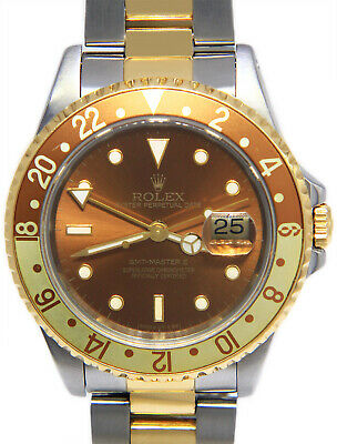 $ CDN13683.23 • Buy Rolex GMT-Master II 18k Yellow Gold & Steel Root Beer Mens 40mm Watch 16713