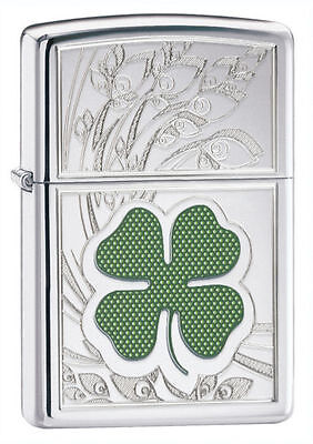 $17.75 • Buy Zippo 24699, 4 Leaf Clover-Shamrock, HP Chrome Lighter, ***6 Flints/Wick***