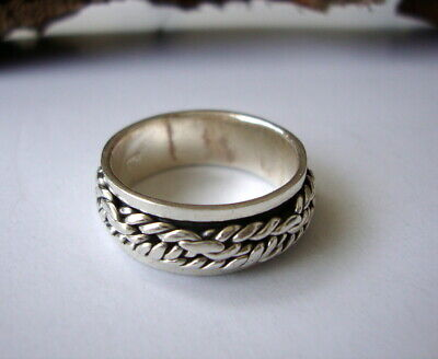 Men's Women's 925 Sterling Silver Spinner Ring Spinning Hand Made Jewelry Ring. • 22.90£