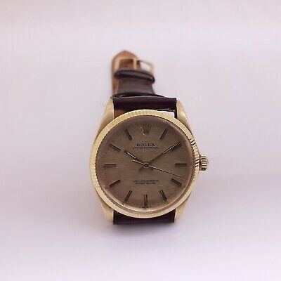 $ CDN4877.37 • Buy Vintage Rolex No Date 34 Mm Steel Gold Leather Watch 1005 Circa 1974