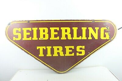 $ CDN407.57 • Buy Vintage 1940s Porcelain SEIBERLING TIRE Sign Hanging Double Sided Gas Oil